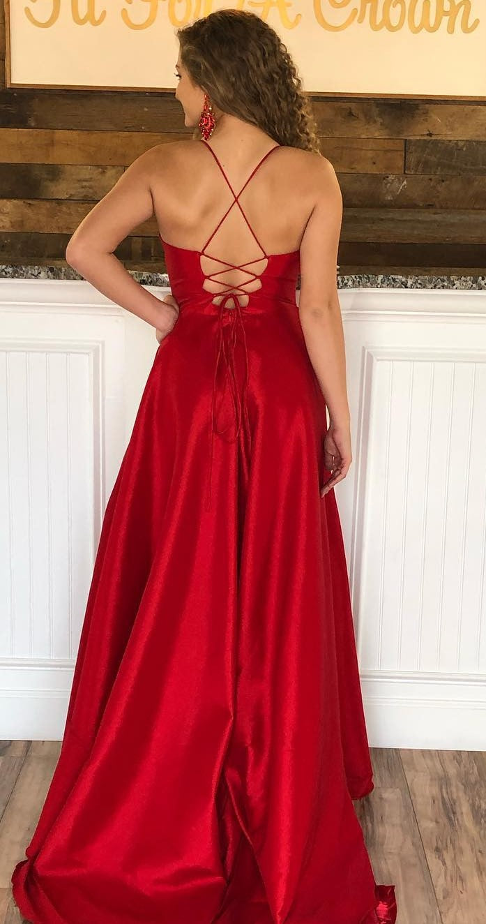 Spaghetti Straps Slit Red Prom Dress - daisystyledress