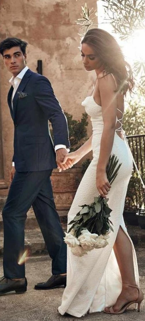 Sexy Spaghetti Straps Open Back Wedding Dress - daisystyledress