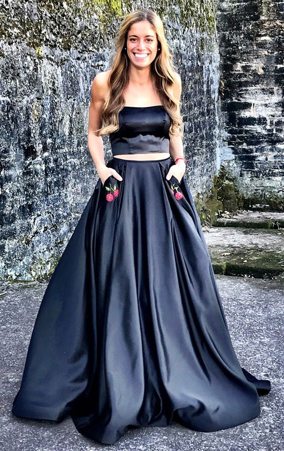 Fashion Two Pieces Black Prom Dress - daisystyledress