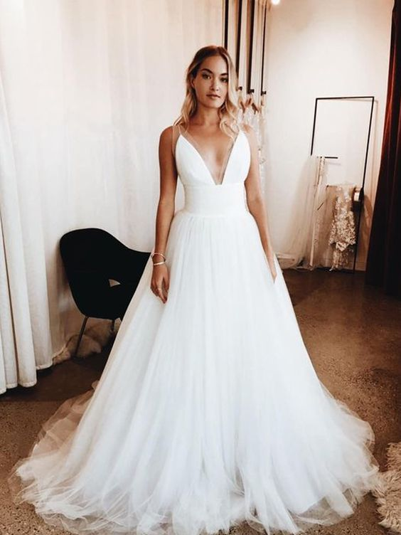 Spaghetti Straps Tulle Informal Wedding Dress - daisystyledress