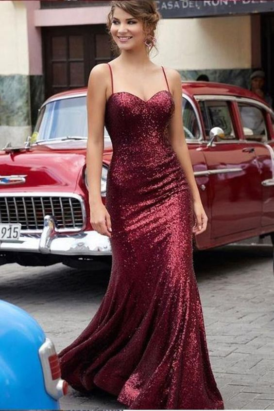 Sheath Spaghetti Straps Burgundy Sequins Prom Dress - daisystyledress