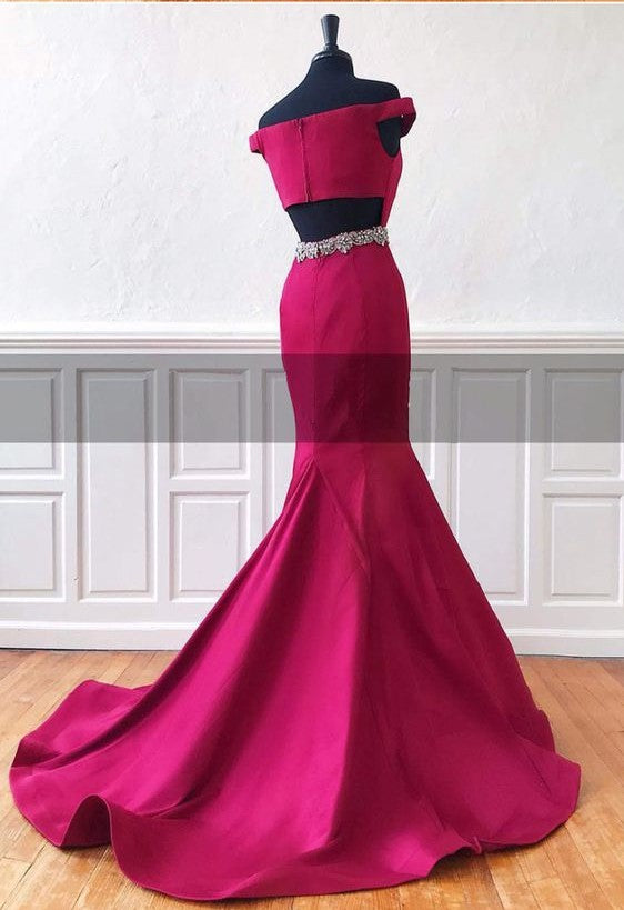 Mermaid Off Shoulder Sleeves Light Plum Evening Dress - daisystyledress