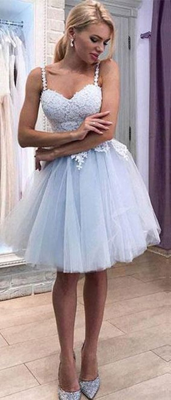 Knee Length Spaghetti Straps Light Blue Homecoming Dress - daisystyledress