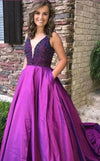 Beaded Fuchsia Prom Dress with Pocket - daisystyledress