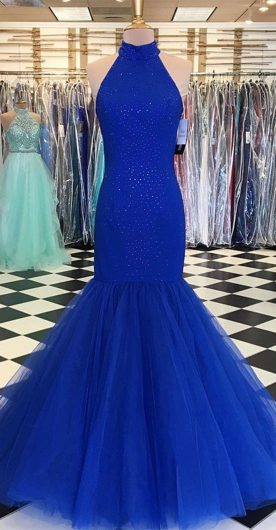 Fashion Mermaid Halter Neckline Sparkle Prom Dress - daisystyledress