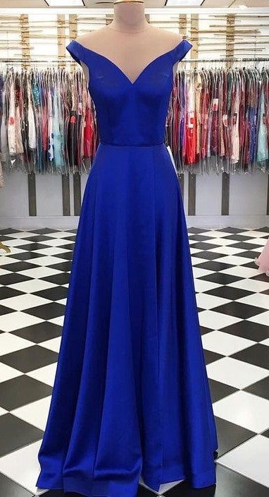 Off Shoulder Sleeves Royal Blue Prom Dress - daisystyledress