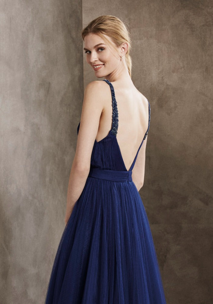 Sexy Open Back Slit Skirt Navy Blue Tulle Prom Dress