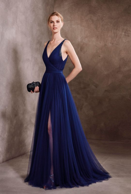 Sexy Open Back Slit Skirt Navy Blue Tulle Prom Dress - daisystyledress