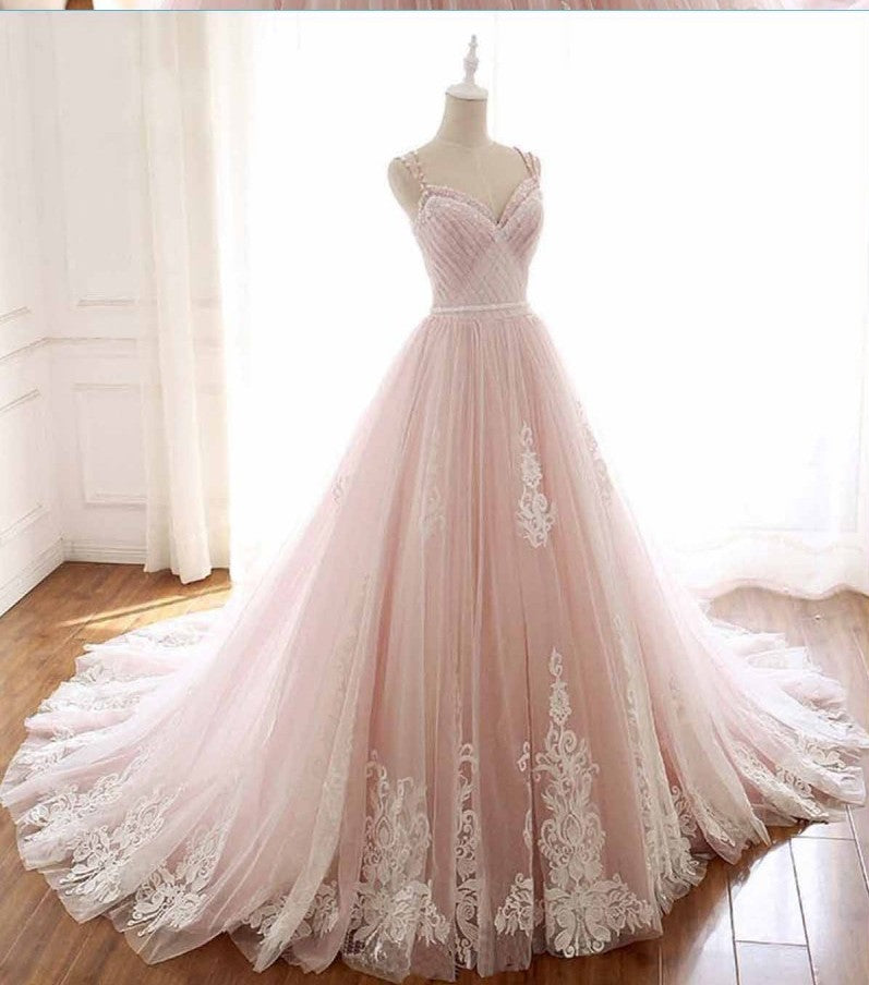 Beaded Straps Blush Pink Wedding Dress - daisystyledress