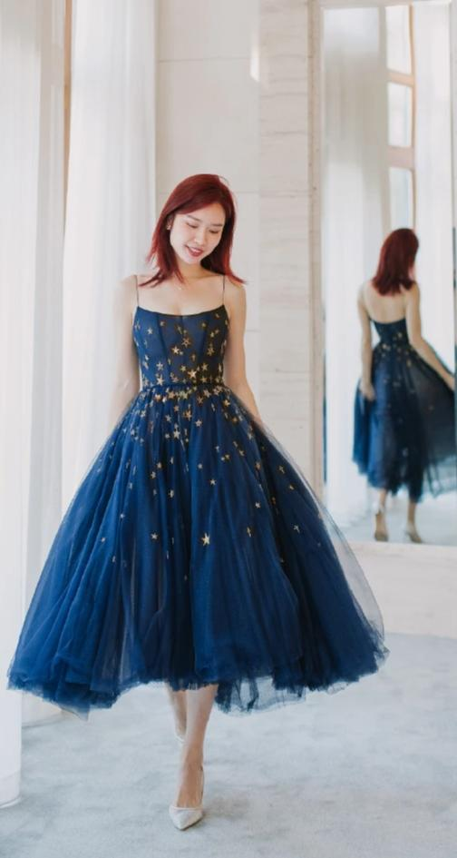 Tea Length Spaghetti Straps Navy Tulle Girls Party Dress - daisystyledress