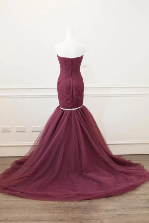 Mermaid Sweetheart Burgundy Evening Dress - daisystyledress