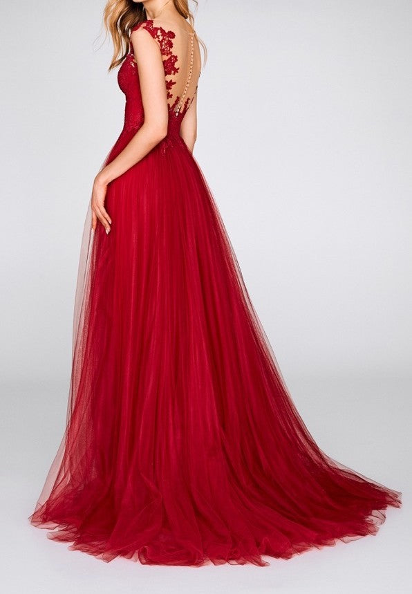 Sexy Split Red Prom Dress