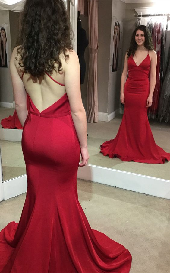 Mermaid Open Back Spaghetti Straps Deep Red Formal Dress - daisystyledress