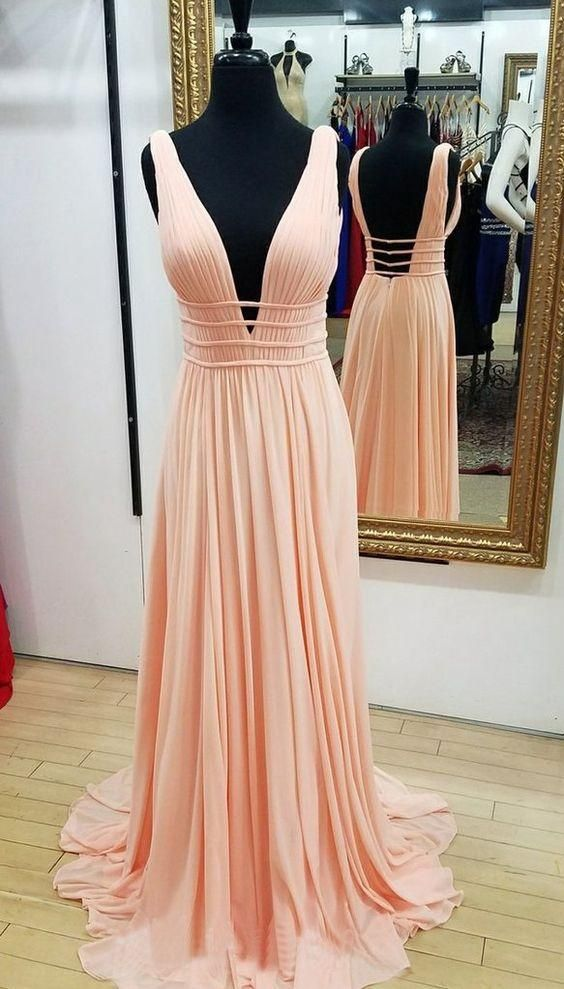 Full length V-neck Blush Pink Prom Dress - daisystyledress