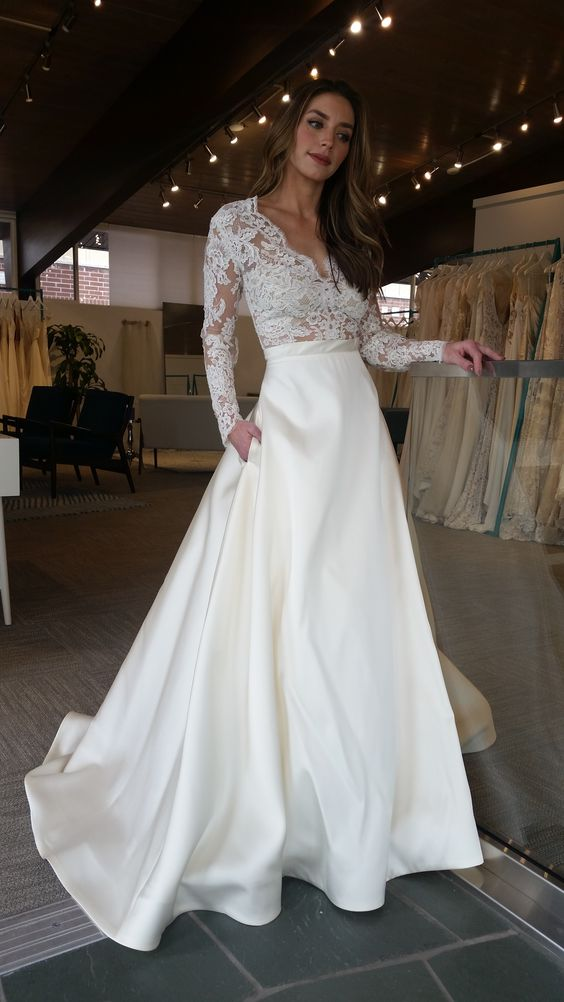High Quality French Lace Long Sleeve Wedding Dress with Pocket - daisystyledress
