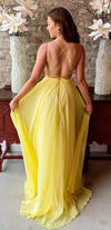 Sexy Open Back Yellow Prom Dress - daisystyledress
