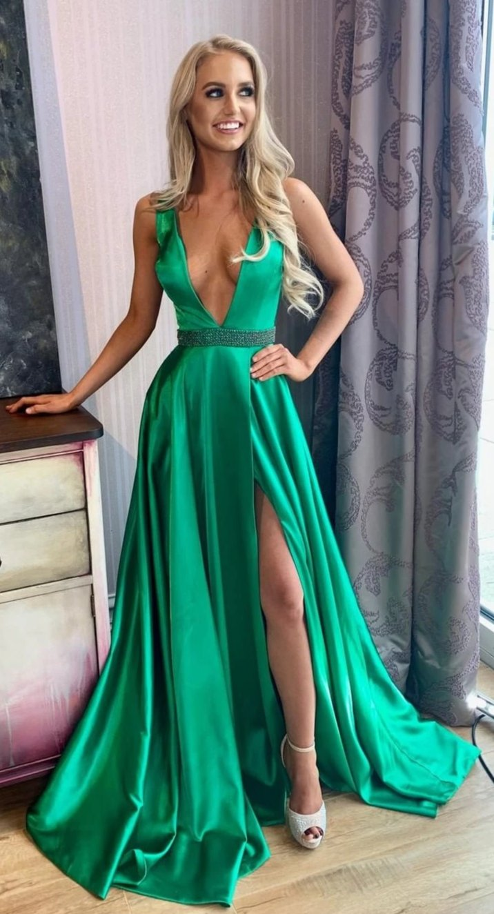 Sexy Slit Deep V-neckline Green Formal Party Dress