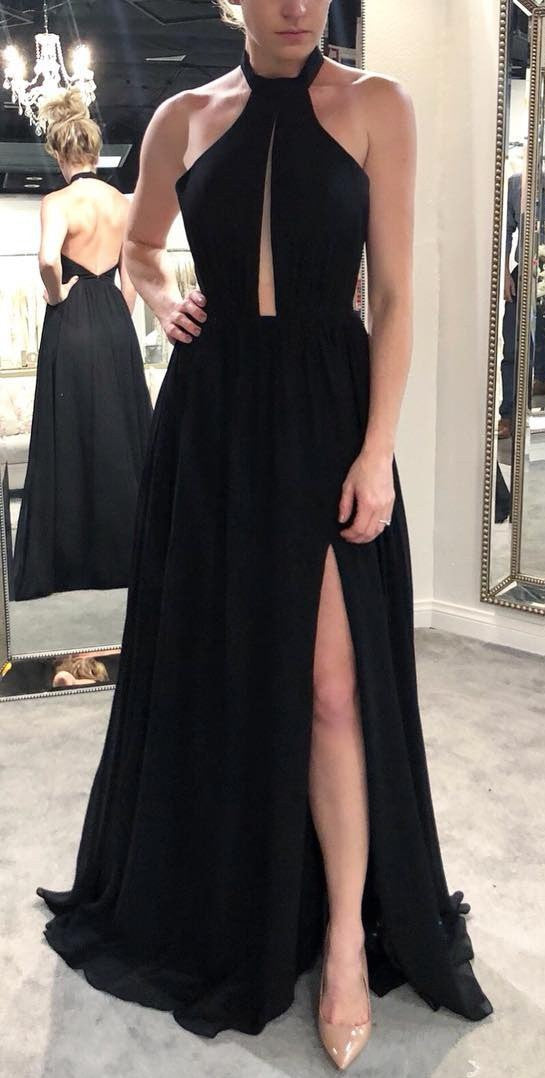 Sexy Halter Neckline Slit Black Evening Party Dress - daisystyledress