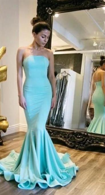 Sexy Mermaid Strapless Mint Prom Dress - daisystyledress