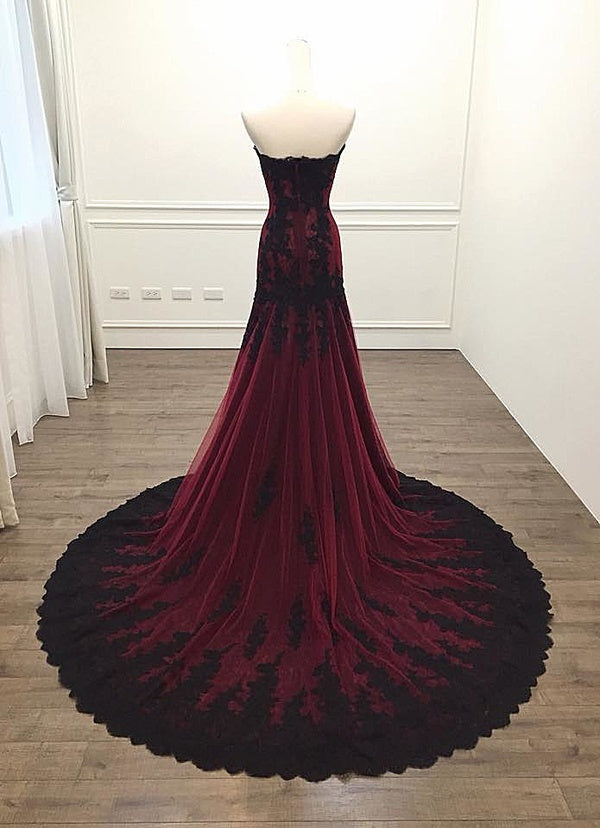 Long Sheath Sweetheart Black and Red Evening Dress - daisystyledress