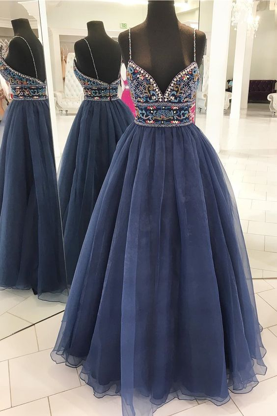 Ball Gown Spaghetti Straps Navy Blue Prom Dress - daisystyledress