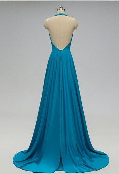 Fashion Halter Neckline Teal Bridesmaid Dress - daisystyledress