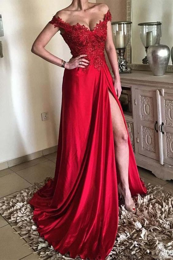 Off Shoulder Sleeves Slit Red Prom Dress - daisystyledress