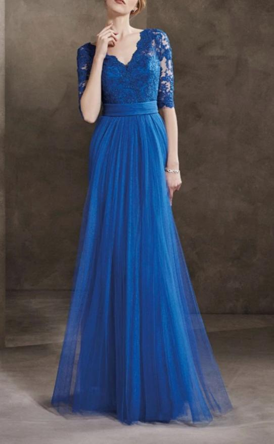 Half Sleeve Royal Blue Tulle Formal Party Dress - daisystyledress