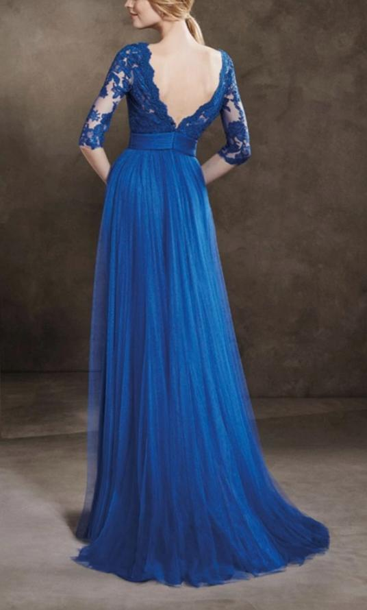 Half Sleeve Royal Blue Evening Dress - daisystyledress