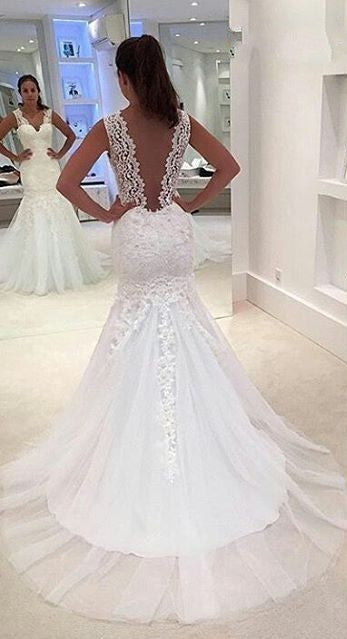 Mermaid V-back Lace Wedding Dress - daisystyledress