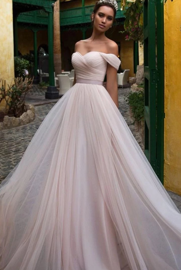 Off Shoulder Sleeves Blush Tulle Wedding Dress - daisystyledress