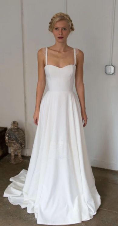 Simple A line Straps Wedding Dress - daisystyledress