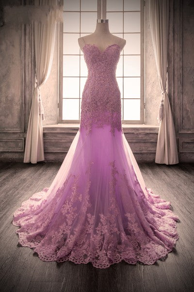 Mermaid Spaghetti Straps Lavender Lace Evening Dress - daisystyledress