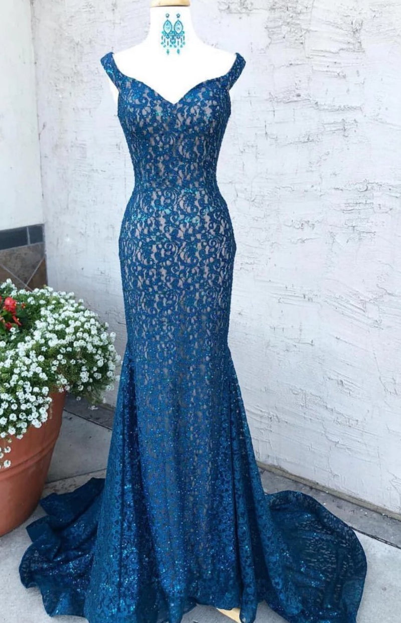 Mermaid Wide Straps Lace Evening Dress - daisystyledress