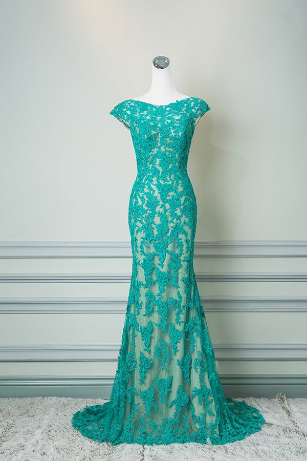 Sheath Cap Sleeves Ice Blue Lace Evening Dress - daisystyledress