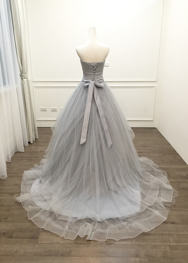 Ball Gown Sweetheart Silver Prom Dress - daisystyledress