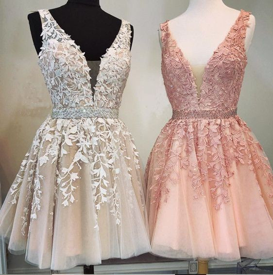 Modest Short V-neck Blush Pink Lace Homecoming Dress - daisystyledress