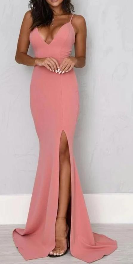 Sexy Sheath Split Spaghetti Straps Prom Dress
