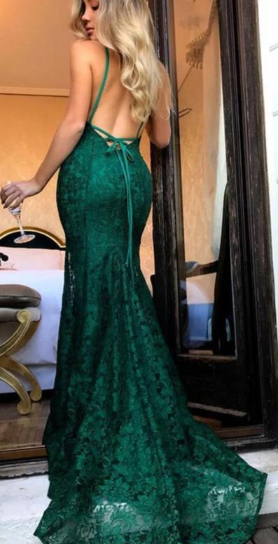 Sexy Mermaid Open Back Spaghetti Straps Green Lace Prom Dress - daisystyledress
