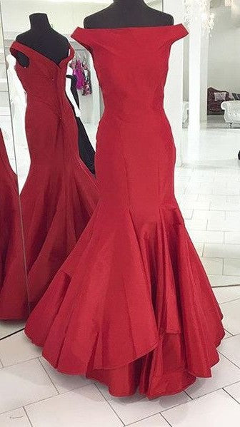 Mermaid Off Shoulder Sleeves Deep Red Evening Party Dress - daisystyledress