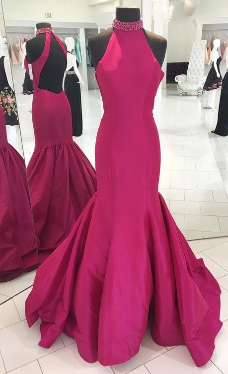 Mermaid Halter Neckline Fuchsia Evening Party Dress - daisystyledress