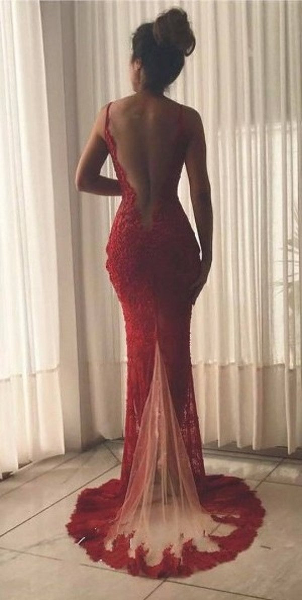 Sexy Sheath Wine Red Slit Prom Dress - daisystyledress