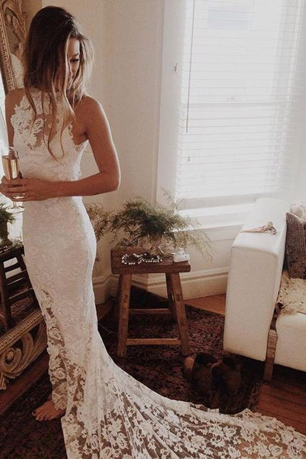 Floor length Open Back Lace Slit Wedding Dress - daisystyledress
