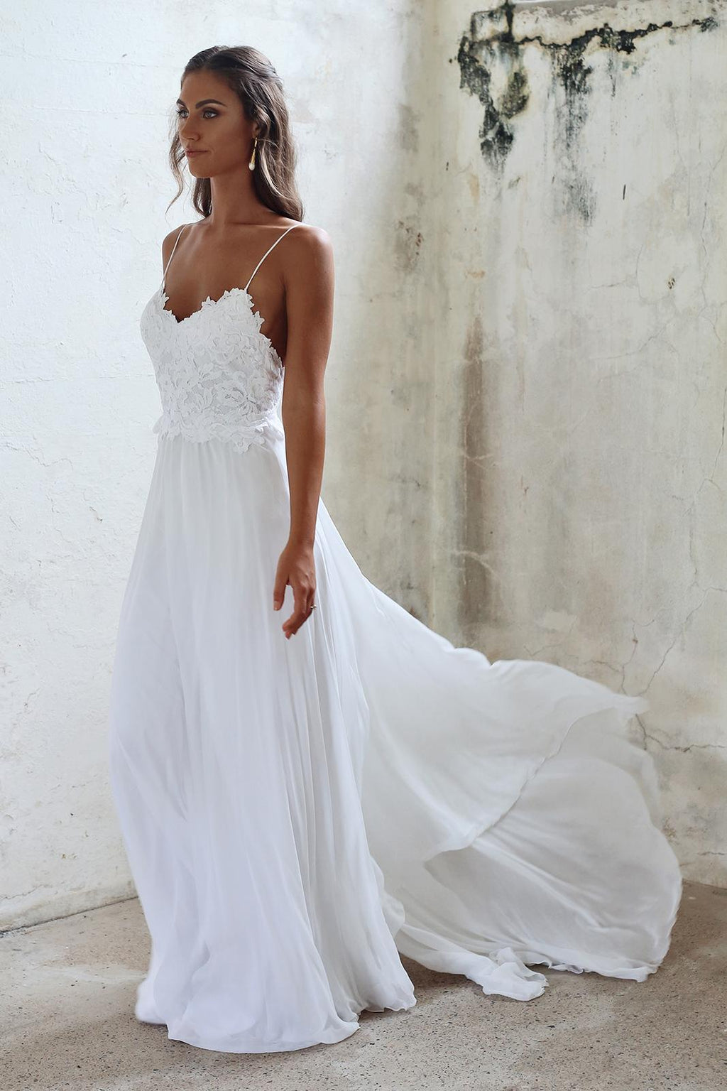 A line Spaghetti Straps Lace Informal Boho Wedding Dress - daisystyledress
