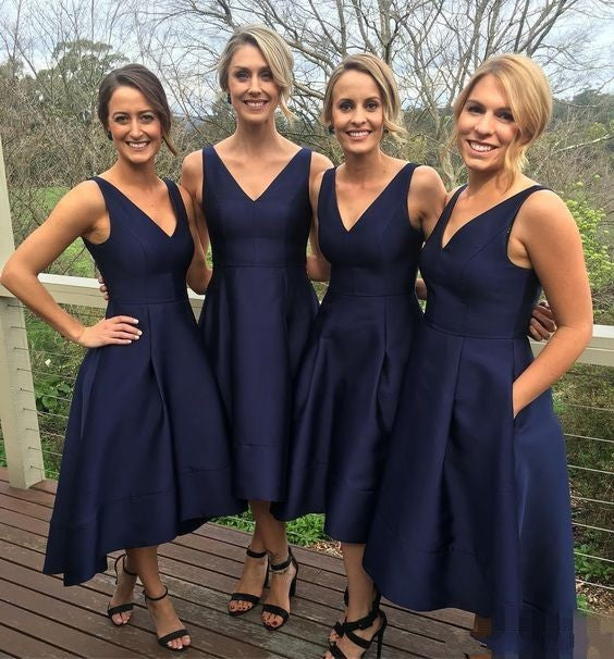Simple high low Navy Blue Bridesmaid Dress