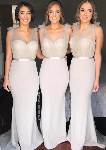 Mermaid V-neckline Silver Bridesmaid Dress - daisystyledress