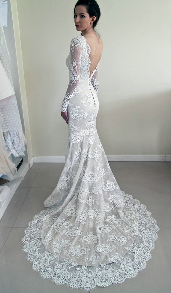 Mermaid Long Sleeve Lace Deep V-back Wedding Dress - daisystyledress