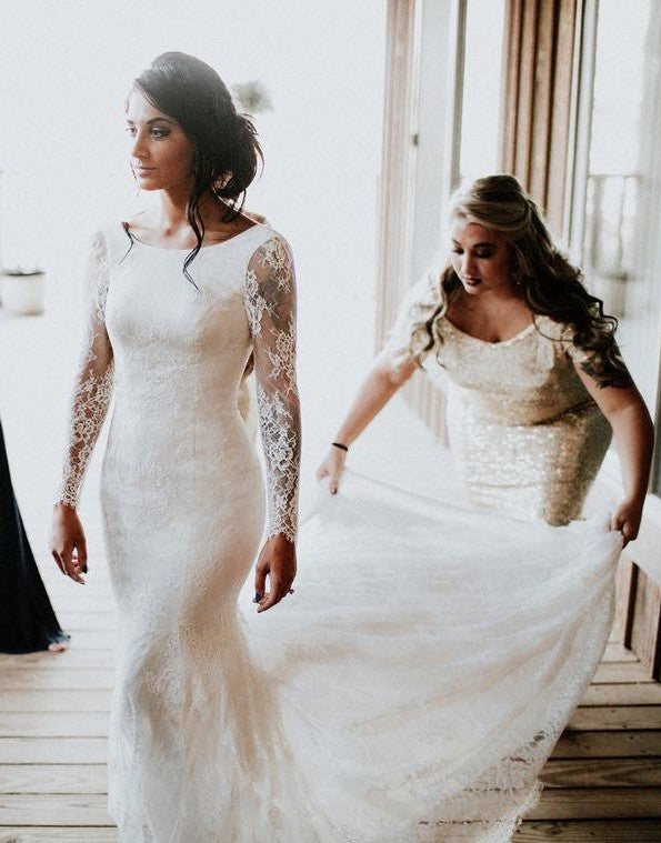 fitted long sleeve lace wedding dress