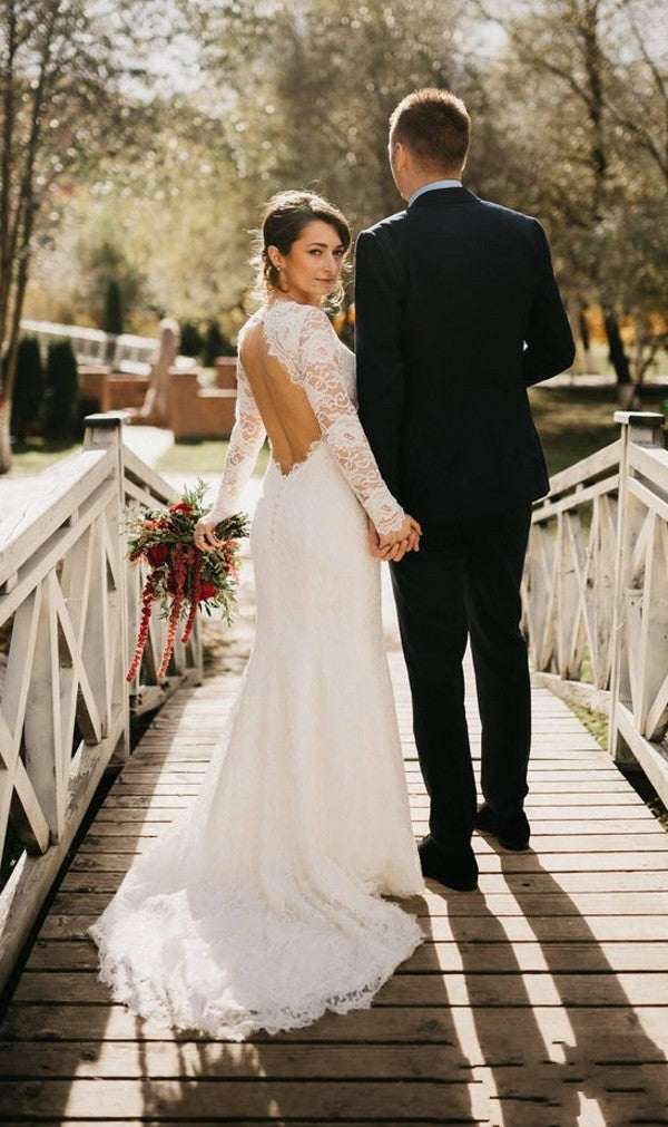 Mermaid Long Sleeve Lace Keyhole Back Wedding Dress - daisystyledress