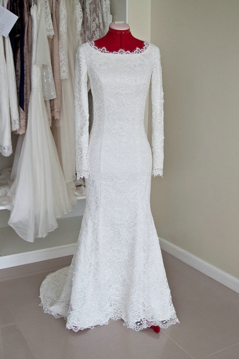 Modest Mermaid Long Sleeve Lace Wedding Dress - daisystyledress